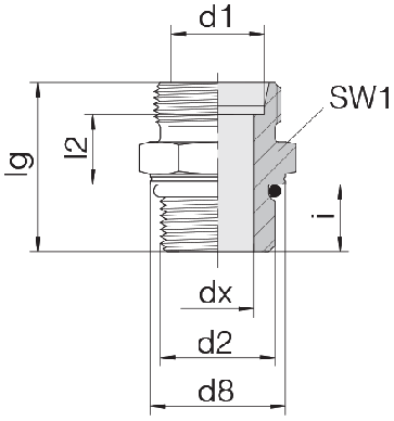 Соединение для труб штуцерное прямое коническое 24-SDS-L12-M22F