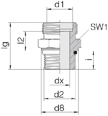 Соединение для труб штуцерное прямое коническое 24-SDS-S12-M22F