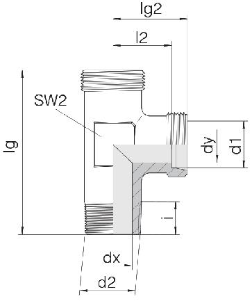 Соединение для труб штуцерное тройник 24-SDL-L6-M10T-P