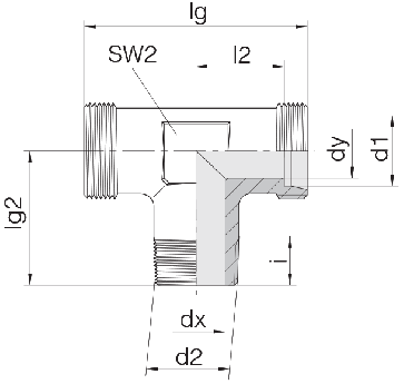 Соединение для труб штуцерное тройник 24-SDT-L10-M14T-P