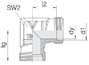 Соединение для труб проходное угловое 24-E-S8-P