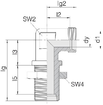 Соединение для труб переборочное угловое 24-BHELN-L6