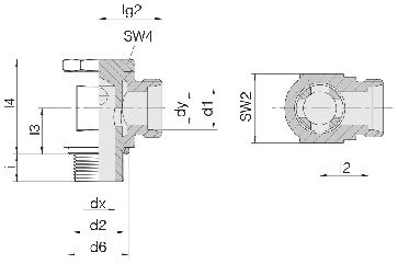 Соединение для труб поворотное угловое 24-BSE-S6-M12B