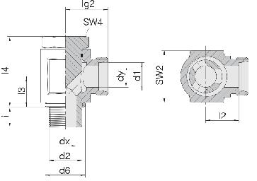 Соединение для труб поворотное угловое с эксцентриком 24-BEE-S8-M14B