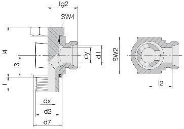 Соединение для труб поворотное угловое с эксцентриком 24-BEE-S8-G1/4E