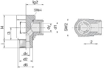 Соединение для труб поворотное угловое 24-BCE-S20-M27B