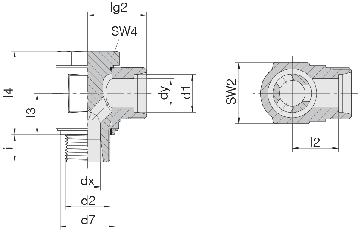 Соединение для труб поворотное угловое 24-BCE-L8-M12E