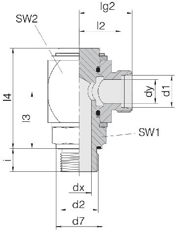 Соединение для труб поворотное угловое угловое 24-RCE-S10-M16E-C10