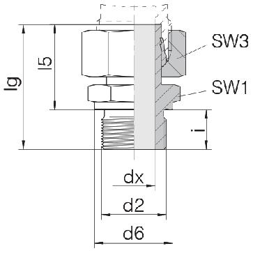 Соединение для труб штуцерное прямое с гайкой 24-SWSDS-S14-M20B