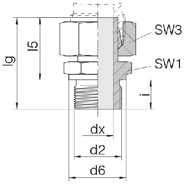 Соединение для труб штуцерное прямое с гайкой 24-SWSDS-L15-G1/2B