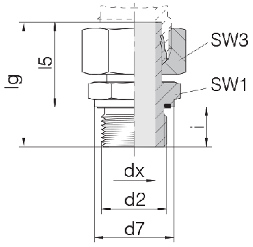 Соединение для труб штуцерное прямое с гайкой 24-SWSDS-L15-M18E