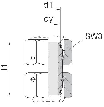 Соединение для труб проходное прямое с двумя гайками 24-SW2OS-L8-CP1