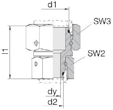 Соединение для труб переходное прямое с двумя гайками 24-SW2OS-L15-L12-CP1