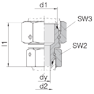 Соединение для труб переходное прямое с двумя гайками 24-SW2OS-S25-L22-CP1