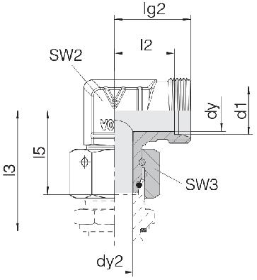 Соединение для труб штуцерное угловое с гайкой 24-SWOE-L10