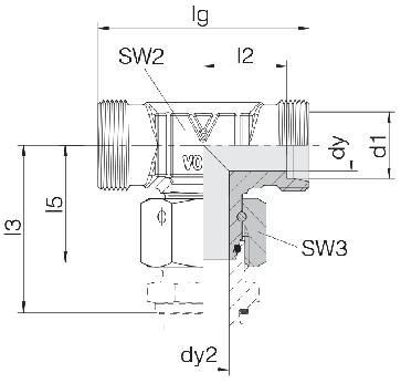 Соединение для труб штуцерное Т-образное с гайкой 24-SWOT-L10-HB