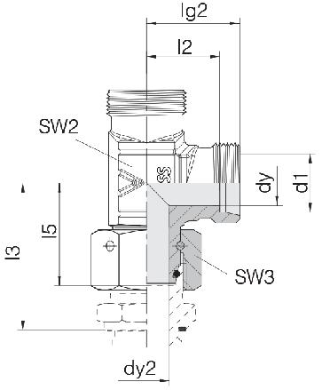 Соединение для труб проходное L-образное с гайкой 24-SWOL-S10-P