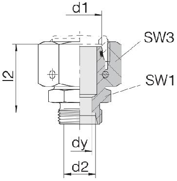Соединение для труб переходное прямое с кримпованной гайкой 24-SWOS-L28-L22