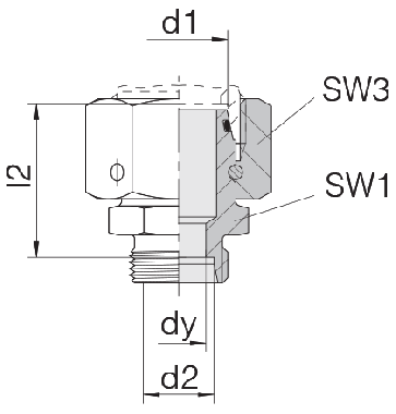 Соединение для труб переходное прямое с кримпованной гайкой 24-SWOS-S20-L15