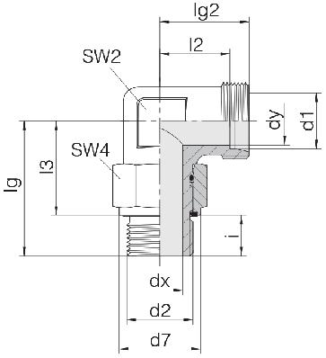 Соединение для труб регулируемое угловое с контргайкой 24-SDAE-L42-M48E