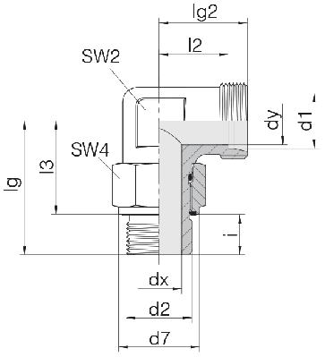 Соединение для труб регулируемое угловое с контргайкой 24-SDAE-S38-G11/2E