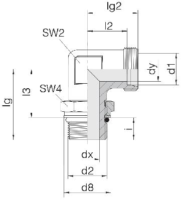 Соединение для труб регулируемое угловое с контргайкой 24-SDAE-S25-M33F