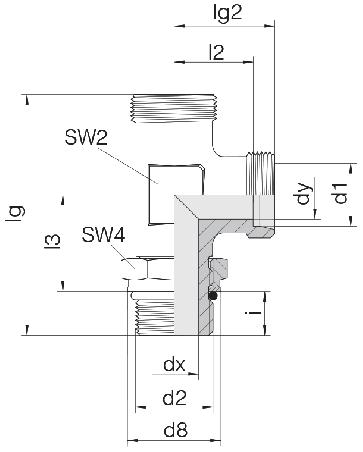 Соединение для труб регулируемое L-образное с контргайкой 24-SDAL-L12-M16F