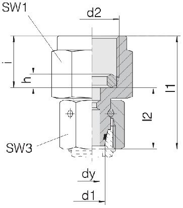 Соединение для манометра с уплонительным кольцом и гайкой 24-SWOPGS-S6-IG1/4B