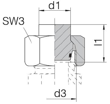 Заглушка на трубу с гайкой и уплотнительным кольцом 24-PLOC-S8