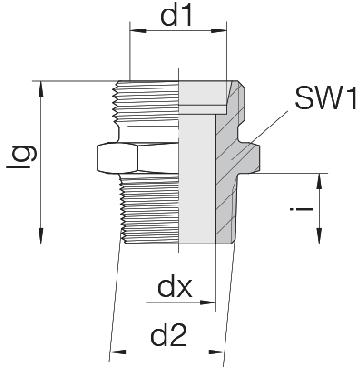 Соединение для труб штуцерное прямое коническое 24-SDS-L22-G3/4E