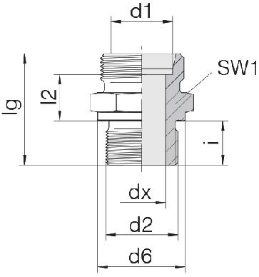 Соединение для труб штуцерное прямое коническое 24-SDS-L6-M16B