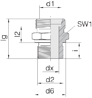 Соединение для труб штуцерное прямое коническое 24-SDS-L22-M42B