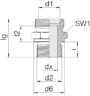 Соединение для труб штуцерное прямое коническое 24-SDS-S12-G3/4B
