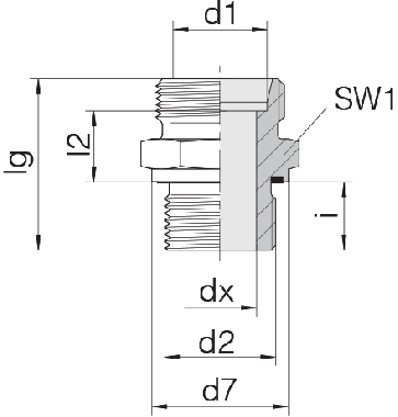 Соединение для труб штуцерное прямое коническое 24-SDS-L15-M22E
