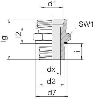 Соединение для труб штуцерное прямое коническое 24-SDS-L22-M26E