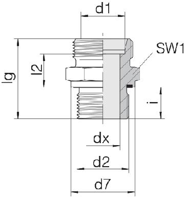 Соединение для труб штуцерное прямое коническое 24-SDS-S8-M12E
