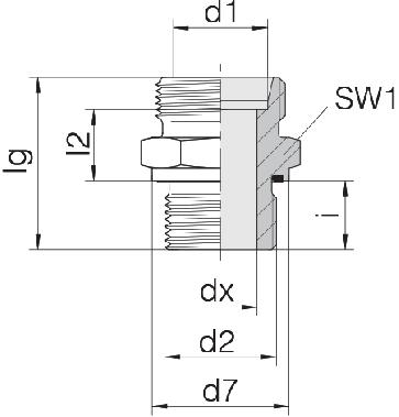 Соединение для труб штуцерное прямое коническое 24-SDS-L12-G3/4E
