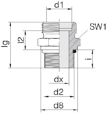 Соединение для труб штуцерное прямое коническое 24-SDS-S38-U15/8-12F
