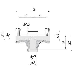 Соединение для труб проходное тройник 24-T-L6-L8-L6-P