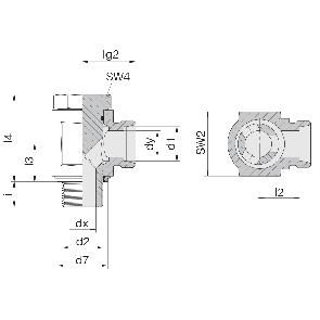 Соединение для труб поворотное угловое с эксцентриком 24-BEE-L6-G1/8E