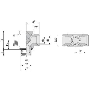 Соединение для труб поворотное Т-образное 24-BCT-L6-M10E-P