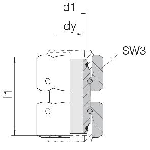 Соединение для труб проходное прямое с двумя гайками 24-SW2OS-L6-CP1