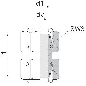 Соединение для труб проходное прямое с двумя гайками 24-SW2OS-S6-CP1