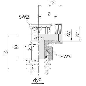 Соединение для труб проходное угловое с гайкой 24-SWOE-L6-P