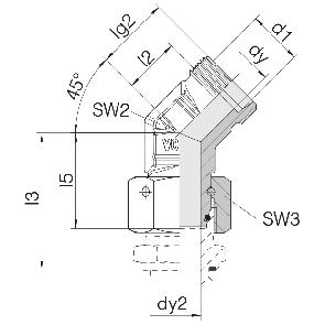Соединение для труб проходное угловое с гайкой 24-SWOE45-L6