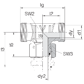 Соединение для труб проходное Т-образное с гайкой  24-SWOT-L6-P