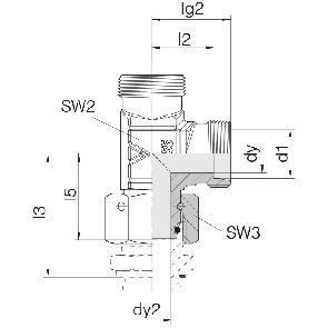 Соединение для труб проходное L-образное с гайкой  24-SWOL-L6-P