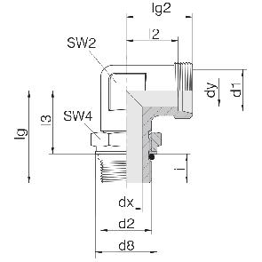 Соединение для труб регулируемое угловое с контргайкой 24-SDAE-L6-M10F