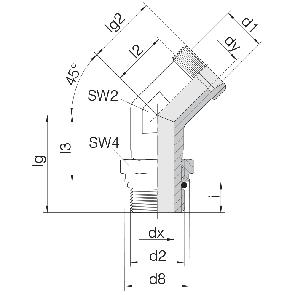 Соединение для труб регулируемое угловое с контргайкой 24-SDAE45-L6-M10F
