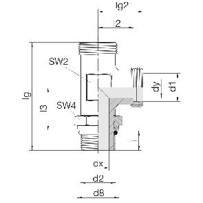 Соединение для труб регулируемое L-образное с контргайкой 24-SDAL-L6-M10F